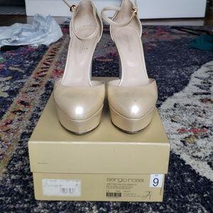 Sergio Rossi Pelle Vernice Metal Skin heels